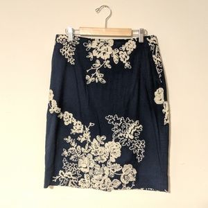 J. Crew Pencil Skirt navy with floral, pockets